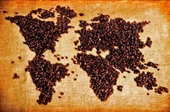 Карта мира из кофейных зерен